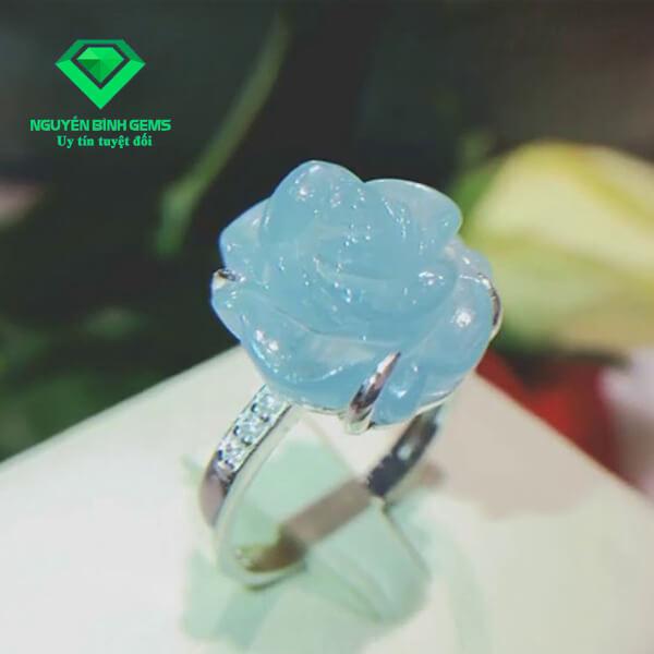Mặt Nhẫn Đá Aquamarine