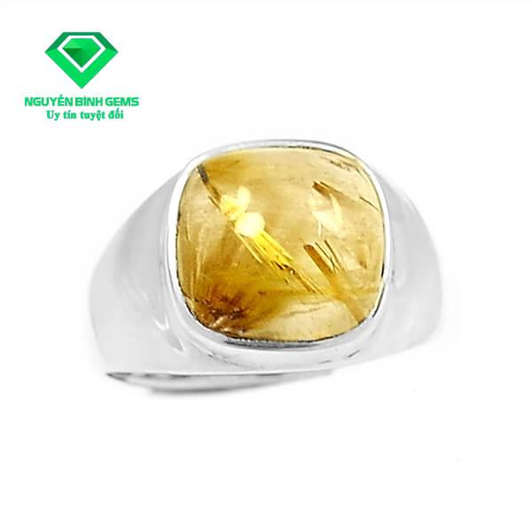 Mặt Nhẫn Thạch Anh Tóc Vàng