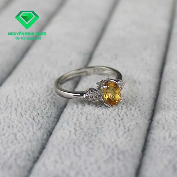 Mặt Nhẫn Thạch Anh Vàng